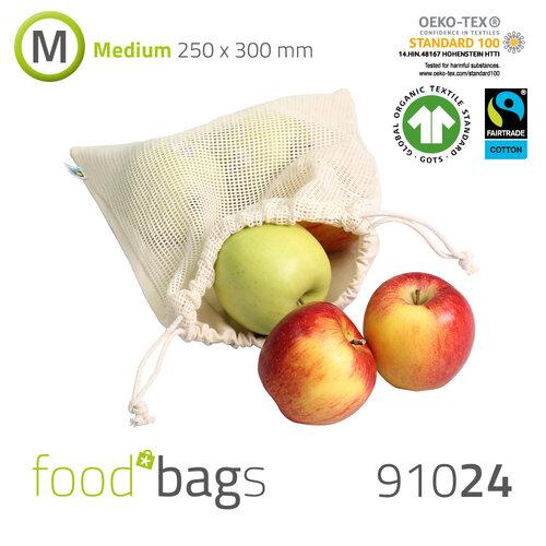 "FAIRTRADE Foodbag ""M"" Baumwolle / Baumwoll-Netz"