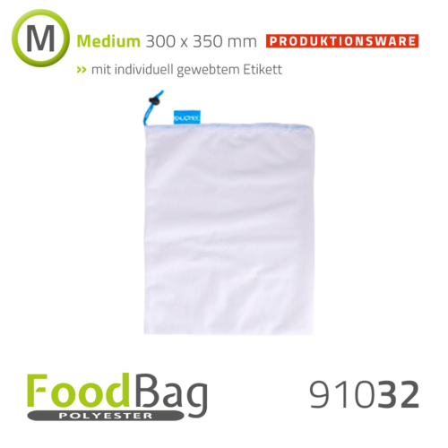 "Foodbag ""M"" PET - farbige Kordel - Produktionsware"