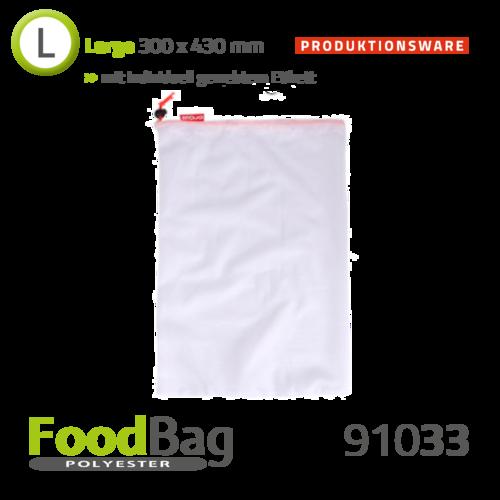 "Foodbag ""L"" PET - farbige Kordel - Produktionsware"