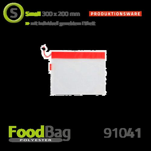 "Foodbag ""S"" PET - Saum + Kordel farbig - Produktionsware"