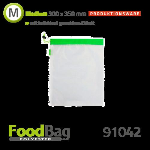 "Foodbag ""M"" PET - Saum + Kordel farbig - Produktionsware"
