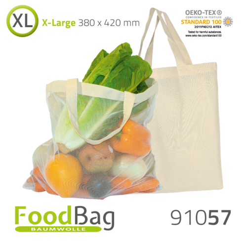 "Foodbag ""XL"" Baumwolle / Nylon-Netz, Tragegriffe"
