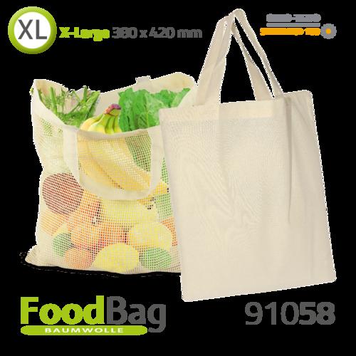 """Foodbag """"XL"""" Baumwolle / Baumwoll-Netz, Tragegriffe"""
